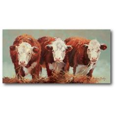 Look at this Three of a Kind Wrapped Canvas by Courtside Market Cow Canvas, Canvas Wall Art, Canvas Prints, Painting & Drawing, Painting Prints, Painting Portraits, Watercolor Painting, Farm Paintings, Pastel Paintings
