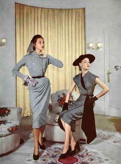 1950 Model on left in dress by Pierre Balmain, model on right in dress by Jean Dessès