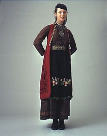 """Early c. woman's costume from the Zagori villages group. The oldest part of the costume is the sleeveless long coat known as """"flokata"""" with a complicated red cord embroidery. Size Date Early c Historical Costume, Historical Clothing, Greek Traditional Dress, Folk Clothing, Kids Around The World, Dance Costumes, Greek Costumes, Folk Costume, World Cultures"""