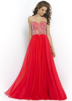 Floor Length Red Strapless Chiffon Prom Dress with Sparkly Top