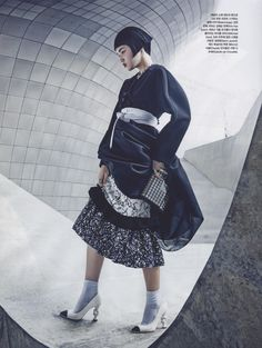 'Back to the Future' – Futuristic high fashion editorial in black and white. Photographed by Hyea W. Kang for Vogue Kor...