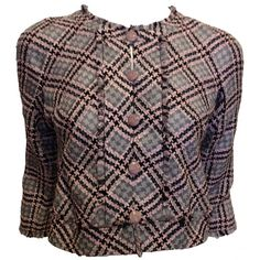 Chanel Grey and Pink Houndstooth Jacket | From a collection of rare vintage jackets at https://www.1stdibs.com/fashion/clothing/jackets/