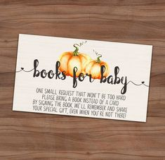 Fall Baby Shower Book Request Card - Autumn Baby Sprinkle Book Instead Of Card Invitation Insert - A Little Pumpkin - Instant - x 2 inch Boy Baby Shower Themes, Baby Shower Parties, Baby Boy Shower, Baby Shower Gifts, Baby Shower Books, Baby Shower Fall Theme, Cute Baby Shower Ideas, Baby Theme, October Baby Showers