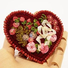 Silk Ribbon Embroidered Heart Brooch Handmade by TwoLeftHands $27.00