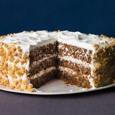 Spiced Apple Carrot Cake with Goat Cheese Frosting by sunset via myrecipes: Use goat cheese as a gourmet substitution for cream cheese in a carrot cake frosting. The sweetened cheese adds an amazing depth of flavor and complements the richness of the cake. #Cake #Apple #Goat_Cheese #sunset #myrecipes