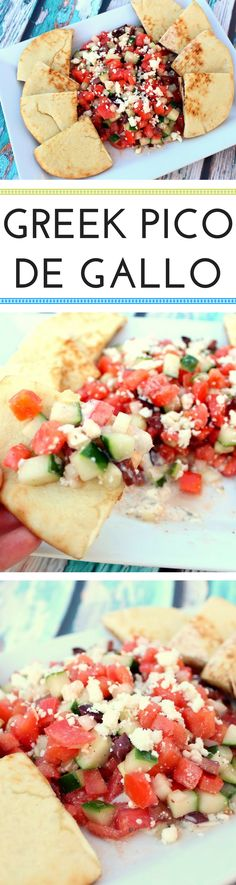 I love all the Greek flavors in this delicious pico. The tomatoes, onions and cucumber provide fresh flavor, while the olives and feta add a bit of saltiness. The vinegar and tzatziki give it a punch of tanginess. The pita is the perfect vessel to eat this.