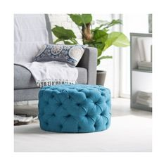 Belham Living Allover Tufted Round Ottoman Teal found on Polyvore featuring polyvore, home, furniture, ottomans, tufted footstool, round ottoman, circular ottoman, tufted ottoman and teal furniture
