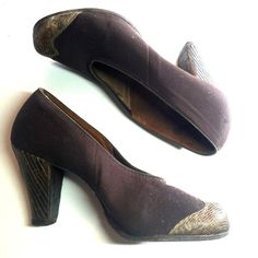 Bark Brown Gabardine and Lizard Skin High Vamp Shoes 6 circa 1940s - Dorothea's Closet Vintage