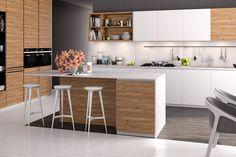 Wiech fronty fornirowane. Dąb belkowy OB 80 jest to fornir, który powstaje ze starych dębowych belek, pełnych pęknięć i porozsychanych sęków. Teak, Furniture, Design, Home Decor, Decoration Home, Room Decor, Home Furnishings, Home Interior Design