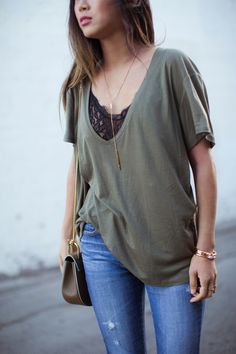 This outfit is basically my L.A. uniform. An oversized t-shirt or a button down shirt and with some sort of distressed jeans finished with either sneakers or high heels depending on where I'm going. Do you have a go-to uniform for those days you're not sure what to wear?  Anine Bing Deep V-neck T-shirt… Read More