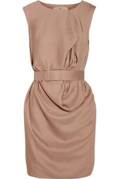 Belted draped crepe dress