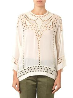 ISABEL MARANT ETOILE Ethan Embroidered Blouse   Cream, lightweight crepe Broderie anglaise embroidered detailing Round neck, 3/4-length dolman sleeves Back-neck button fastening, key-hole detail Sheer, may require layering