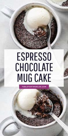 For all the coffee and chocolate lovers out there this espresso chocolate mug cake is right up your alley! it is full of coffee and chocolate flavor! mugcake chocolate microwave cake mugcakerecipe cakerecipe easydessert 1 min chocolate chip mug cake Microwave Chocolate Mug Cake, Mug Cake Microwave, Chocolate Mug Cakes, Chocolate Coffee, Chocolate Flavors, Microwave Desserts, Microwave Dishes, Chocolate Crepes, Chocolate Buttercream