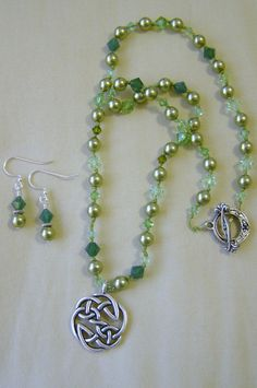 40 Shades of Green Celtic Knot Necklace & Earrings