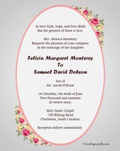 Christian Wedding Card Content In English