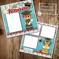Our Little Graduate boy-2 Premade Scrapbook Pages for printing or digital scrapbooking by AdrisCorner on Etsy Book Sites, Scrapbooks, Photo Book, Scrapbook Pages, Digital Scrapbooking, Custom Design, Graduation, Corner, Printing
