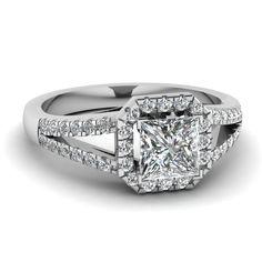 Princess Cut Diamond Halo Ring With White Diamonds In 14k White Gold