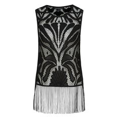 Your ultimate summer statement piece.  This beautiful lace tank with fringing detailing on hem, can be worn over your bathers and take you effortlessly to bar. 100% Polyester