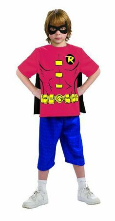 """Justice League Child's Robin 100% Cotton T-Shirt Rubie's Costume Co. $12.50. Since 1950 Rubie's Costume Company has been making dress-up fun with costumes and accessories for the entire family. Justice League is a trademark of DC Comics, Warner Brothers and Cartoon Network, use in this costume is officially licensed. Child's size Small fits most 3 to 4 year olds, 44"""" to 48"""" tall. Includes shirt, mask and removable cape"""