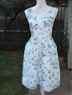 Aqua Bloom Hazel Dress sz8 by Dear Hazel. One-of-a-kind cotton vintage style dress from upcycled fabric!