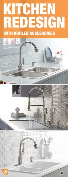 Switch up your kitchen style with KOHLER sinks and faucets. Upgrade to a crafted enamel cast- iron sink with deep basins or to a stainless-steel faucet with hands-free activation to avoid germs and stains. Give your kitchen a lift with beautiful modern decor. Click to shop products from the collection.
