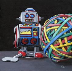 desktop+toys+realism,+painting+by+artist+Ria+Hills