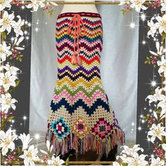 Crochet ganchillo Vintage falda gitana de Hippie para mujer