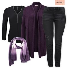 Check out 1 blouse - 3 styles #scarf #pants #black #purple