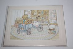 "Vintage Signed Debi Hron Watercolor Print ""Teddies in the Wagon""/Children's Art Print/8"" x 10""/Whimsical Watercolor Print/Vintage…"