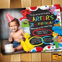 Elmo Invitation, Elmo Birthday Invitation, Sesame Street Invitation , 1st 2nd 3rd Birthday Party Invitation R-168 by ArtAmoris on Etsy