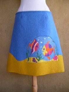 Wollen rok Visjes borduurwerk upcycled wollen deken door LUREaLURE