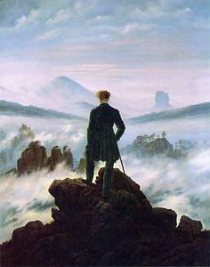Wanderer above the Sea of Fog by Caspar David Friedrich (1818)    The message conveyed by the painting is one of Kantian self-reflection, expressed through the wanderer's gazings into the murkiness of the sea of fog.