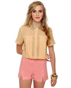 Claim to Fame Dusty Peach Sequin Top $36