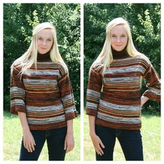 Vintage 60's 70's 100% Virgin Acrylic Knit Mod Spice Striped Fall Pullover Turtleneck Sweater