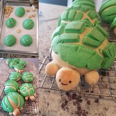 Attempted conchas this morning and made a couple turtles for my coworker's birthday. Mexican Pastries, Mexican Sweet Breads, Mexican Snacks, Mexican Food Recipes, Mexican Candy, Mexican Desserts, Fun Baking Recipes, Cookie Recipes, Snack Recipes