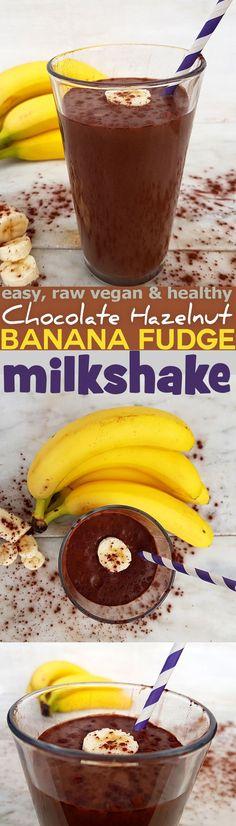 Quick and easy recipe for raw dairy-free Chocolate Hazelnut Banana Fudge Milkshake. Vegan, dairy free, gluten free and healthy. via @nestandglow