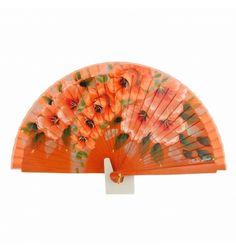 Abanico diseño naranja con flores al tono - Paula Alonso - Tienda online Hand Held Fan, Hand Fans, Lace Parasol, Chinese Fans, Fan Decoration, Vintage Fans, Modern Fan, One Stroke Painting, Color Me Beautiful