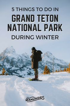 Get your snowshoes and discover Wyoming's Grand Teton National Park in winter! There are so many things to do in the winter here (indoors and outdoors! National Park Pass, Grand Teton National Park, Yellowstone National Park, Most Visited National Parks, National Parks Usa, Yellowstone Winter, Yellowstone Vacation, Jackson Hole Wyoming, State Parks