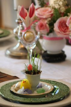 Linda's Easter table scape.