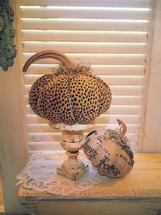 Large Designer Cheeta Print Fabric Pumpkin with by burlappumpkin