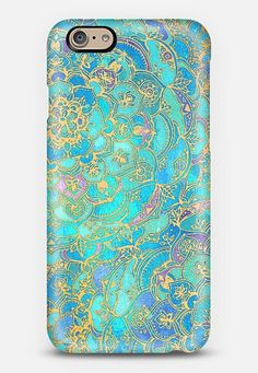 Sapphire & Jade Stained Glass Mandalas iPhone 6 case by Micklyn Le Feuvre | Casetify