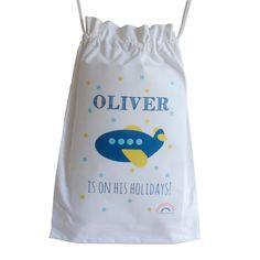 Children's Aeroplane Holiday Drawstring Bag