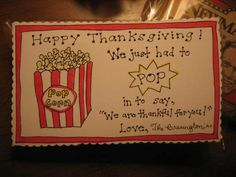 Popcorn Gift Surprise for Thanksgiving - FREE PRintable! Plus 4 others great Thanksgiving gift ideas!