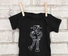 Robot Baby Bodysuit, Cotton Infant Onepiece, Unisex Clothing, Black One Piece, Robotic, Short Sleeved, Screen Printed By Hand, Black Shirt on Etsy, $18.00