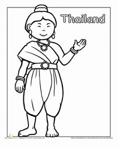 A coloring sheet for 1st graders about clothing from around the world. This one is of a girl from Thailand in traditional clothes.