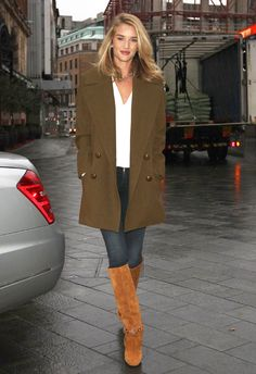How to style out your long line jacket like Rosie Huntington-Whiteley