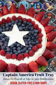 This Captain America Fruit Tray is perfect for any gathering. Also, it's vegan, . - This Ole Mom - Fruit Fruit Recipes, Appetizer Recipes, Snack Recipes, Dessert Recipes, Snacks, Vegetarian Appetizers, Healthy Recipes, Vegan Desserts, Easy Desserts