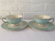Castleton China Corsage Pattern Tea Cups/Bread and by VintageTakes