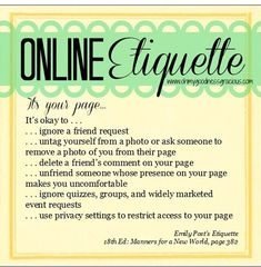 My February installment on Oh My Goodness Gracious: It's My Prerogative (Netiquette: Part Social Media Etiquette, Social Media Marketing, My Prerogative, Etiquette And Manners, Online Job Search, Good Manners, Table Manners, Social Skills, Life Skills