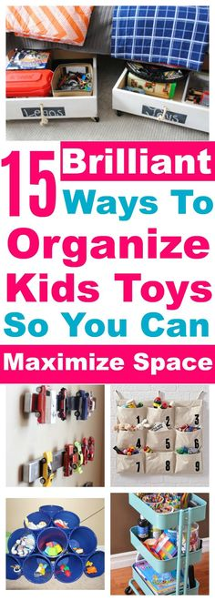 Are you tired of all the clutter from your kids toys? Do you feel as though the toys have taken over your home.  Here are 15 Simple Solutions to Organize your children's toys, maximize space and maintain your sanity.  #organization #organize #organizing #toys #toystorage #kids #solutions #ideas #genius #hack